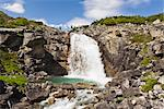 Waterfall cascades into a turquoise pool outside of Skagway near the Canadian border, Southeast Alaska, Summer Stock Photo - Premium Rights-Managed, Artist: AlaskaStock, Code: 854-03739694