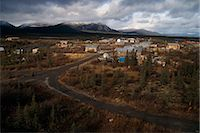 small town snow - View overlooking Arctic Village with Brooks Range in the background, Arctic Alaska, Autumn Stock Photo - Premium Rights-Managednull, Code: 854-03739914