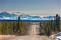 small town snow - View of the Denali Highway looking east with the Alaska Range in the backgroundl, near Cantwell, Southcentral Alaska, Spring Stock Photo - Premium Rights-Managednull, Code: 854-03739961