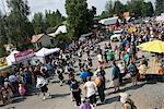 Spectators watch a Scottish band marching to bagpipe music during the Moose Dropping Festival Parade, Talkeetna, Southcentral Alaska, Summer Stock Photo - Premium Rights-Managed, Artist: AlaskaStock, Code: 854-03740316