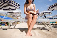 Woman Reading on Beach Stock Photo - Premium Rights-Managednull, Code: 700-03762787