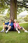 Mature couple resting after exercise
