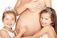 pregnant breast - Pregnant woman with her two daughters Stock Photo - Premium Royalty-Freenull, Code: 649-03769508