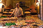 Dried Fruit Seller in the Souk, Medina, Medina, Marrakesh, Morocco