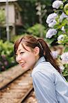 Young Woman Looking Near Railway Track Stock Photo - Premium Rights-Managed, Artist: Aflo Relax, Code: 859-03779859