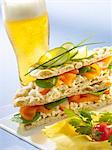 Norwegian sandwich and a glass of lager Stock Photo - Premium Royalty-Free, Artist: Sheltered Images, Code: 652-03801179