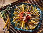 Melon and mozzarella carpaccio with raw ham Stock Photo - Premium Royalty-Free, Artist: CulturaRM, Code: 652-03801296