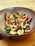 Gambas and basil cooking in a wok Stock Photo - Premium Royalty-Freenull, Code: 652-03803110