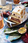 Rum and passionfruit log cake flambée Stock Photo - Premium Royalty-Free, Artist: Photocuisine, Code: 652-03803261