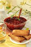 Cherry and Port soup with Financiers Stock Photo - Premium Royalty-Free, Artist: Photocuisine, Code: 652-03803436