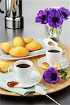Coffee for two with Madeleines Stock Photo - Premium Royalty-Freenull, Code: 652-03805211