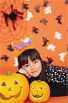 Girl in Costume for Halloween with Pumpkin Stock Photo - Premium Rights-Managed, Artist: Aflo Relax, Code: 859-03806359