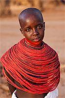 Kenya, Samburu District.  Young Samburu girl in traditional beaded necklaces. Stock Photo - Premium Rights-Managednull, Code: 862-03807769