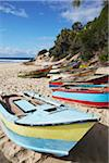Fishing boats on beach, Tofo, Inhambane, Mozambique Stock Photo - Premium Rights-Managed, Artist: AWL Images, Code: 862-03807920