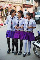 Asia, Nepal, Kathmandu, High School girls in uniform Stock Photo - Premium Rights-Managednull, Code: 862-03808054