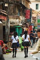 Asia, Nepal, Kathmandu, High School girls in uniform Stock Photo - Premium Rights-Managednull, Code: 862-03808055