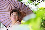 Japanese Woman in Kimono with Bangasa Parasol Stock Photo - Premium Rights-Managed, Artist: Aflo Relax, Code: 859-03811308