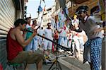 Street Musician, Parade of Penas, Fiesta de San Fermin, Pamplona, Navarre, Spain Stock Photo - Premium Rights-Managed, Artist: Emanuele Ciccomartino, Code: 700-03814411