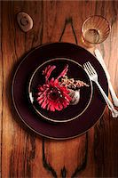 setting kitchen table - Place Setting on Wooden Table Stock Photo - Premium Royalty-Freenull, Code: 600-03814646