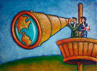 quest - Business People Using Telescope in Crow's Nest Stock Photo - Premium Rights-Managednull, Code: 700-03814669