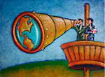 Business People Using Telescope in Crow's Nest Stock Photo - Premium Rights-Managed, Artist: James Wardell, Code: 700-03814669