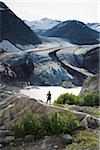 Hiker, Berendon Glacier, Coast Mountains North of Stewart, British Columbia, Canada