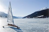 sports and sailing - Icesailer on frozen lake Stock Photo - Premium Royalty-Freenull, Code: 649-03818074