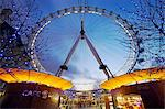 The British Airways London Eye, or simply the Eye for short, is a giant ferris wheel on the banks of the Thames constructed for Londons Millennium celebrations.Also known as the Millennium Wheel it is the largest ferris wheel in the world at 135m high. Stock Photo - Premium Rights-Managed, Artist: AWL Images, Code: 862-03820314