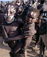 The Karo of the Lower Omo River excel in body art. They decorate their faces and torsos elaborately using local white chalk, pulverised rock and other natural pigments. Even young children daub their faces before a dance.The Karo are a small tribe living in three main villages along the lower reaches of the Omo River in southwest Ethiopia. Stock Photo - Premium Rights-Managednull, Code: 862-03820357