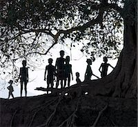 In the late afternoon, a group of Dassanech children walk in single file beneath a large wild fig tree along a bank of the Omo River in Southwest Ethiopia.The Dassanech speak a language of Eastern Cushitic origin.They live in the Omo Delta and they practice animal husbandry and fishing as well as agriculture. Stock Photo - Premium Rights-Managednull, Code: 862-03820479