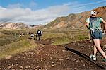 Iceland.The Laugavegur Ultra Marathon and Adventure race course is one of the most beautiful in Iceland, stretching from Landmannalaugar in the highlands to Thorsmork, a natural reservation area. Stock Photo - Premium Rights-Managed, Artist: AWL Images, Code: 862-03820586