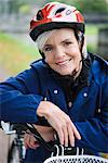 Portrait of a woman wearing a safety helmet, Sweden. Stock Photo - Premium Royalty-Freenull, Code: 6102-03828594