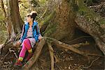 Young Woman Sitting On Tree Root With Environmental Surroundings Stock Photo - Premium Rights-Managed, Artist: Aflo Relax, Code: 859-03839492