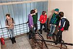 Five teenage boys talking and ignoring a teenage girl in a school stairwell Stock Photo - Premium Royalty-Free, Artist: Darrell Lecorre, Code: 653-03843171