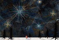 Santa Claus running through a snowy landscape Stock Photo - Premium Royalty-Freenull, Code: 653-03843954