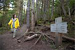 Woman hiking by a mileage marker on Winner Creek Trail in near Girdwood, Chugach National Forest, Southcentral Alaska, Autumn Stock Photo - Premium Rights-Managed, Artist: AlaskaStock, Code: 854-03845035
