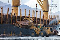 View of log ship being loaded with Sitka Spruce from Chiniak and Sequel Point at LASH dock in Women's Bay, Kodiak Island, Southwest Alaska, Autumn Stock Photo - Premium Rights-Managednull, Code: 854-03845264