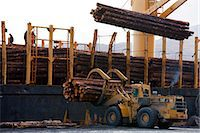 View of log ship being loaded with Sitka Spruce from Chiniak and Sequel Point at LASH dock in Women's Bay, Kodiak Island, Southwest Alaska, Autumn Stock Photo - Premium Rights-Managed, Artist: AlaskaStock, Code: 854-03845267