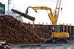 View of log ship being loaded with Sitka Spruce from Chiniak and Sequel Point at LASH dock in Women's Bay, Kodiak Island, Southwest Alaska, Autumn Stock Photo - Premium Rights-Managed, Artist: AlaskaStock, Code: 854-03845274