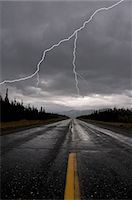 storm lightning - Lightning strike and storm over the Alcan Highway, Yukon Territory, Canada, Summer Stock Photo - Premium Rights-Managednull, Code: 854-03845434