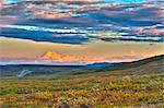 Moon rising and Mount Drum at sunset along the Denali Highway, Southcentral Alaska, Autumn. HDR Stock Photo - Premium Rights-Managed, Artist: AlaskaStock, Code: 854-03845560