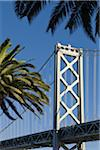 Bay Bridge with Palm Trees, Embarcadero, San Francisco, California, USA