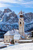 small town snow - Village Church, Colfosco, Alta Badia, South Tyrol, Italy Stock Photo - Premium Rights-Managednull, Code: 700-03849405