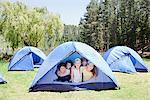 Kids in tent Stock Photo - Premium Royalty-Freenull, Code: 635-03860176