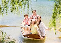 side view of person rowing in boat - Family in rowboat on lake Stock Photo - Premium Royalty-Freenull, Code: 635-03860183