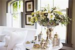Bouquet and silver on living room table Stock Photo - Premium Royalty-Freenull, Code: 635-03860223