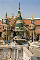 southeast asian - Temple Offering and Guardian Demons, Wat Phra Kaew, Grand Palace, Bangkok, Thailand Stock Photo - Premium Royalty-Freenull, Code: 600-03865507