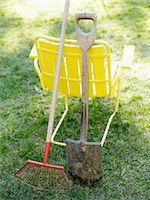 A yellow chair and garden tools, Sweden. Stock Photo - Premium Royalty-Freenull, Code: 6102-03865699