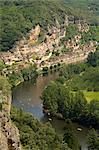 An aerial view of the Dordogne River and La Roque-Gageac from Les Jardins de Marqueyssac, Dordogne, France, Europe Stock Photo - Premium Rights-Managed, Artist: Robert Harding Images, Code: 841-03867889