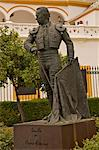 Statue of famous torrero Curro Romero in front of Plaza de Toros, La Maestranza, Seville, Andalucia, Spain, Europe